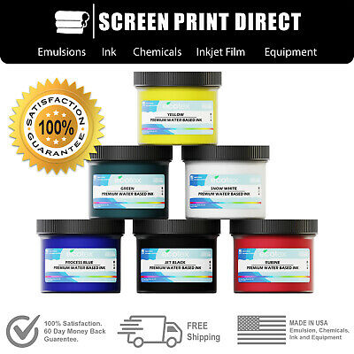 Ecotex® Water Based Ink Kit For Screen Printing - 6 Primary Colors - 8oz