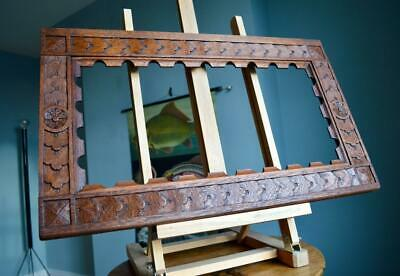 "SUPERB ANTIQUE CARVED OAK PICTURE FRAME 22"" X 11"" REBATE v ARTS & CRAFTS NOUVEAU"