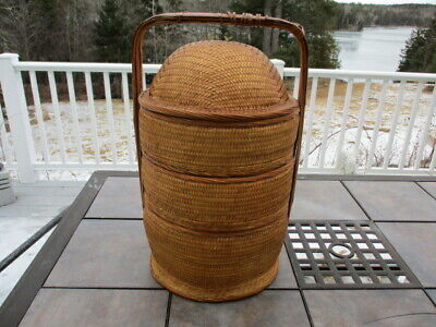 """VINTAGE CHINESE WEDDING BASKET Woven wicker 3 piece sectional rattan bamboo 22"""""""