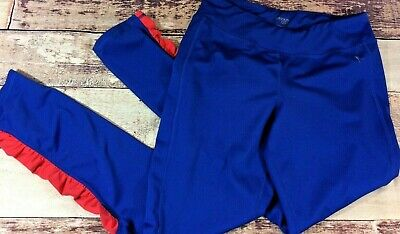 Danskin Now Junior Girls Leggings Sz XL 14 16 Blue Red Fitted Workout Pants