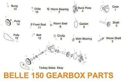 Belle150 140 Complete Gearbox, New Spares Bearing Seal Gasket Shaft Back plate