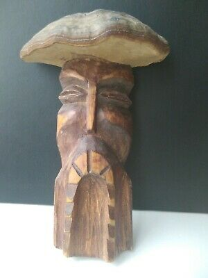 Carved Sculpture From Tree And Mushroom  Forest Old Man Shaman