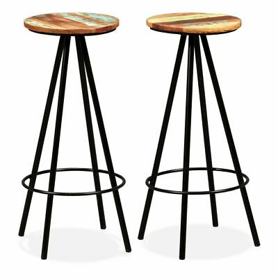 vidaXL 2x Solid Reclaimed Wood and Steel Bar Stools Kitchen Dining Chair Seat#