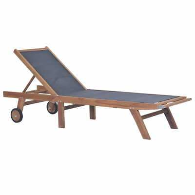 vidaXL Solid Teak and Textilene Folding Sunlounger with Wheels Outdoor Daybed#