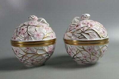 Pair of Large HEREND HUNGARY PORCELAIN FLORAL TRINKET BOXES