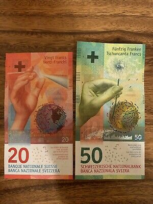 Switzerland 20 And 50 Banknote Francs. Swiss National Bank Total Of 70 Francs