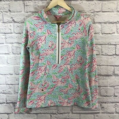 Lilly Pulitzer Small Lobster Partial Zip Shirt Long Sleeve Stretch Womens *****