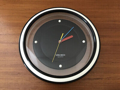 Vintage Rare Verichron Mid Century Modernist Style Colorblock Wall Clock