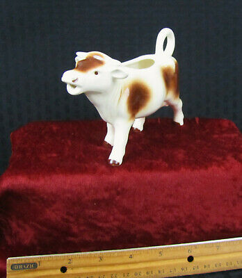 Vintage Ceramic Cow Creamer Ivory W/Brown Spots Made In West Germany Nice!