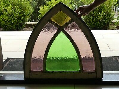 Antique stained glass gothic church window arch arabesque