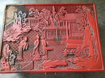 Antique Chinese  Cinnabar Lacquer Box w/Lid: OF QING DYNASTY(damaged)