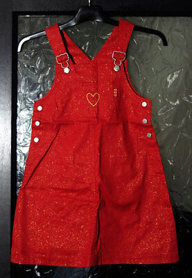 New without Tags Girl's Red Sparkly Pinafore Skirt by Adams - Age 8 yrs