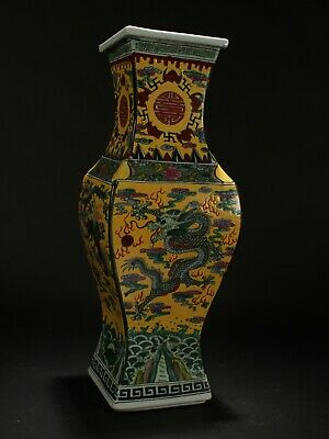 A Chinese Dragon-decorating Longlife-Fortune Porcelain Vase