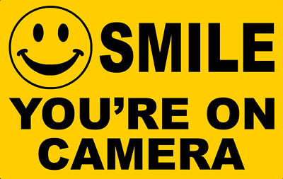 SMILE YOUR ON CAMERA SECURITY STICKER, 14cm x 9cm, Free Aus Post