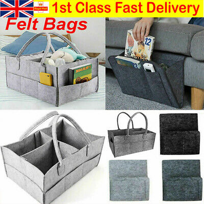 UK Felt Storage Nappy Nursery Organizer Basket Infant Baby Diaper Caddy Wipe Bag