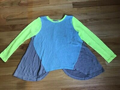 EUC RUUM Girls 7-8 Years Gray Turquoise Green Tunic Long Sleeve Open Wrap Back!