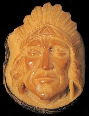 Antique Beautiful Folk Art Fine Hand Carved Nut Indian Chief Head Portrait Cameo