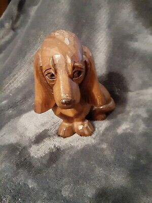 Antique Huggler Wyss Swiss Expertly Hand Carved Wood Basset Hound Dog Sculpture