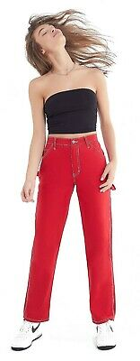Dickies Girl Juniors Relaxed Fit Carpenter Pants, Red - Size 7/28