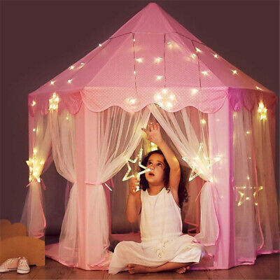 Kid Girls Pink Princess Castle Cute Playhouse Children Play Tent In/Outdoor Toys