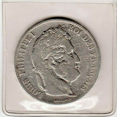 1835 France Silver 5 Franc Coin - Circulated in Good Condition.