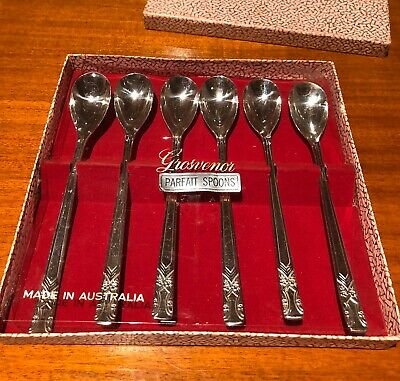 Grosvenor Gretel Parfait Spoons In Beautiful Box Made In Australia Vintage
