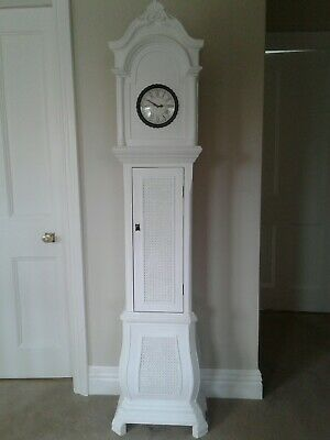 Beautiful White Painted Antique Retro Shabbychic Grandmother Clock vg  con