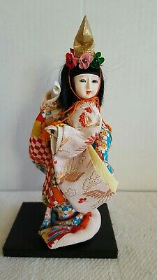 Vintage  Japanese Doll Young Geisha Girl Kimono Silk Dress Cloth Face 10""