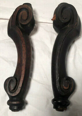 2 Antique Salvage Victorian Red Maple? Carved Wood Furniture Feet 1800s Inlay