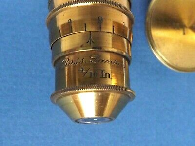 Microscope [ Objective ] Ross { 4/10th Inch } Compensating [ Lacquer Brass ]Fine