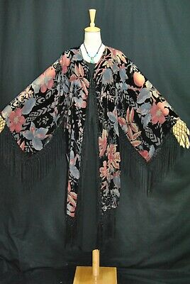 Art to Classic Eastern Flower Burnout Velvet Fringe Jacket Coat Kimono Duster