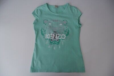 Kenzo Kids Mint Green T Shirt Age 12 Years Tiger Face Vgc Size 152cm Girls
