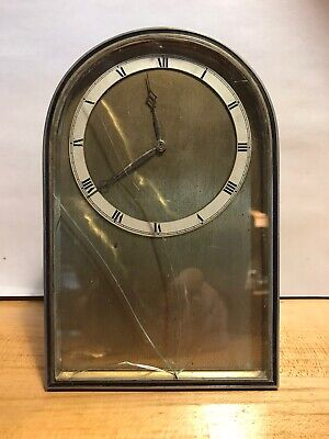 Antique Art Deco Carriage Clock Table Clock Nickel Brass French