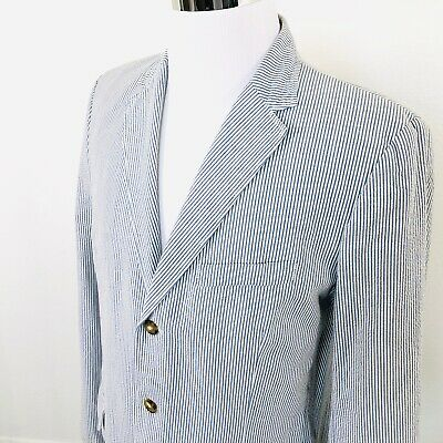 J Crew Mens Seersucker Blue White Striped 3 Button Blazer Sport Coat Size 44 L