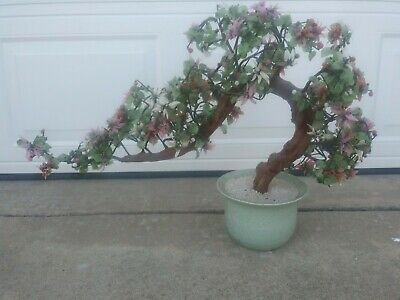 "26"" Vintage Glass Jade Shells Sakura Cherry Blossom Potted Bonsai Tree Decor"