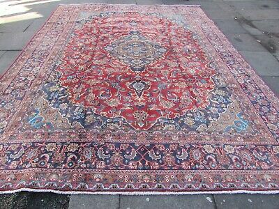 Vintage Traditional Hand Made Rug Oriental Faded Red Blue Wool Carpet 385x291cm