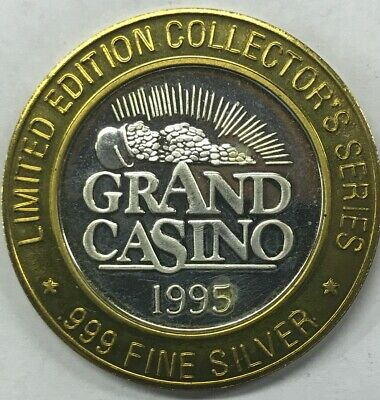 1995 Grand Casino Limited Edition Collectors Series Token .999 Silver Ships Free