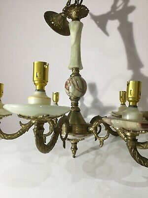 Antique Vintage Heavy Brass ,Onyx alabaster Marble French Chandelier