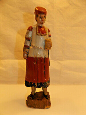 "Hand Carved Wooden Figure RELIGIOUS MAN 8"" European FOLK ART Red + White Robes"