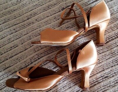 "708141 2.5/""W High Heel Tan Ballroom Smooth Tango Very Fine Quality Dance Shoes"