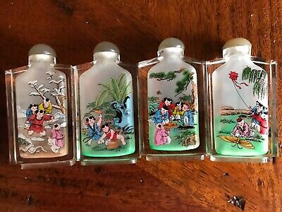 Vintage Chinese Export Inside Reverse Painted Glass Snuff Bottle Set of 4