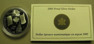2005 Proof $1 40th Anniversary Canadian Flag .9999 Silver Dollar COIN&COA ONLY o