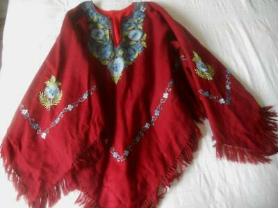 Fabulous Vintage Ethnic Folk Art Dark Red Wool Poncho Blue Flowers Embroidery