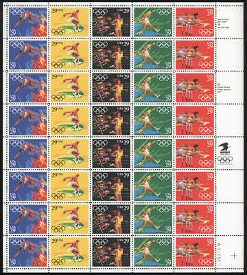US #2553-2557 2553-7 2557a 29¢ Barcelona Summer Olympics Sheet of 40 VF NH MNH