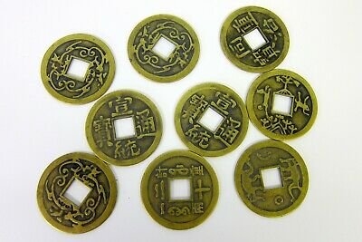 Large Lucky Chinese Replica Brass Finish Coin 42mm Diameter Feng Shui I-Ching