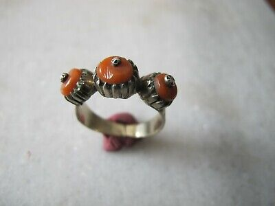 Antique Silver Islamic Red Coral Stone Ring