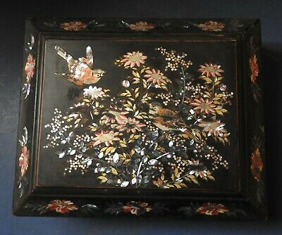 Chinese Black Lacquer Gaming Box - Mother-Of-Pearl Inlay - Late 19Th Century