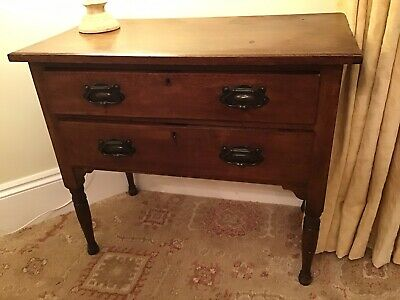 Antique Edwardian Dark Oak - Two Long Drawers Over Tapered Legs