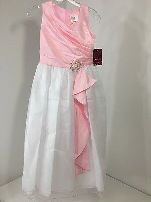 Chic Baby Big Girls Surplice Double Layer Pageant Dress Pink/White 14 Nwt