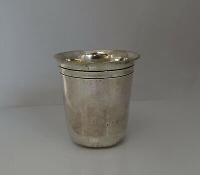 Small Silver Tone Plated Metal Beaker Cup - French / Kiddush / Stirrup Interest?